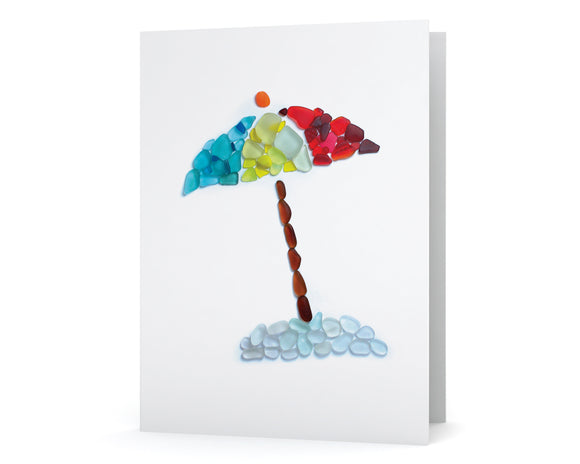 Sea Glass Beach Umbrella Card
