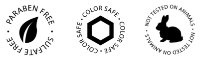 ingredient icons for paraben-free, color-safe and not tested on animals