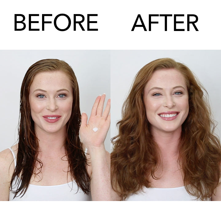 Before and after of model using Achieve-10 styling cream