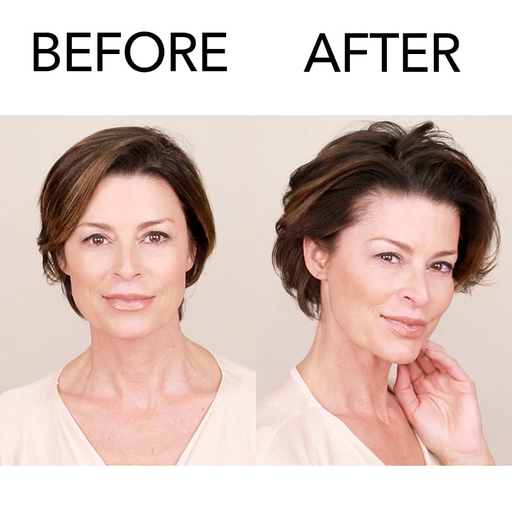 Before and after model using Airshape Hairspray on short hair