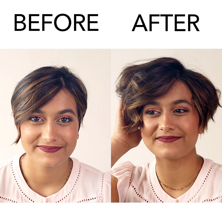 Before and after model using Cloud Powder on short hair