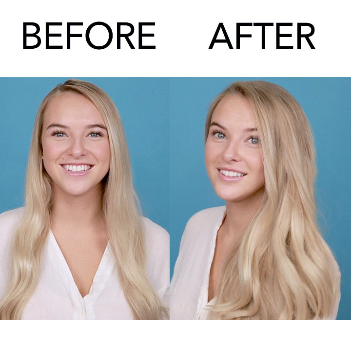 Before and after model with long hair using Day Off Dry Shampoo