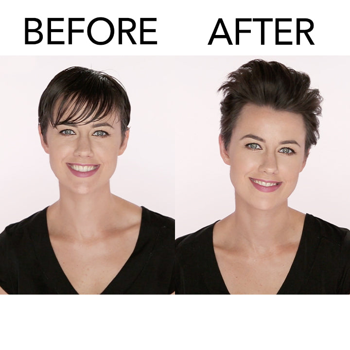 model with short hair before and after using Embellish Texturizing Foam