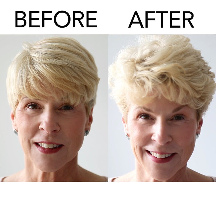 model with short hair before and after using Embellish Finishing Spray