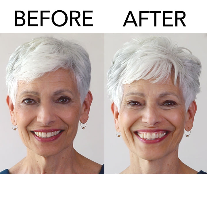 Model with short hair before and after using Embellish Texturizing Definer