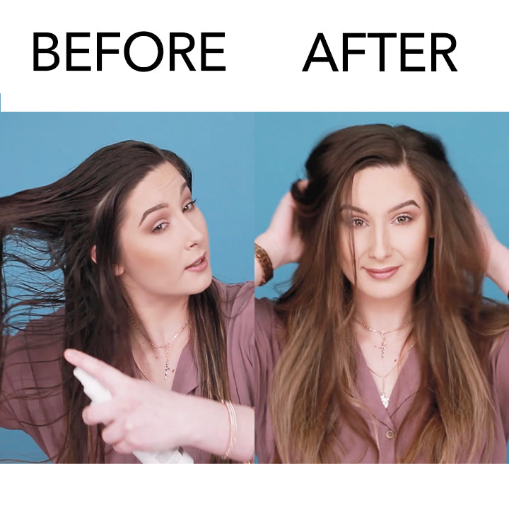 before-and-after-model-using-jousse-thickening-spray-on-hair