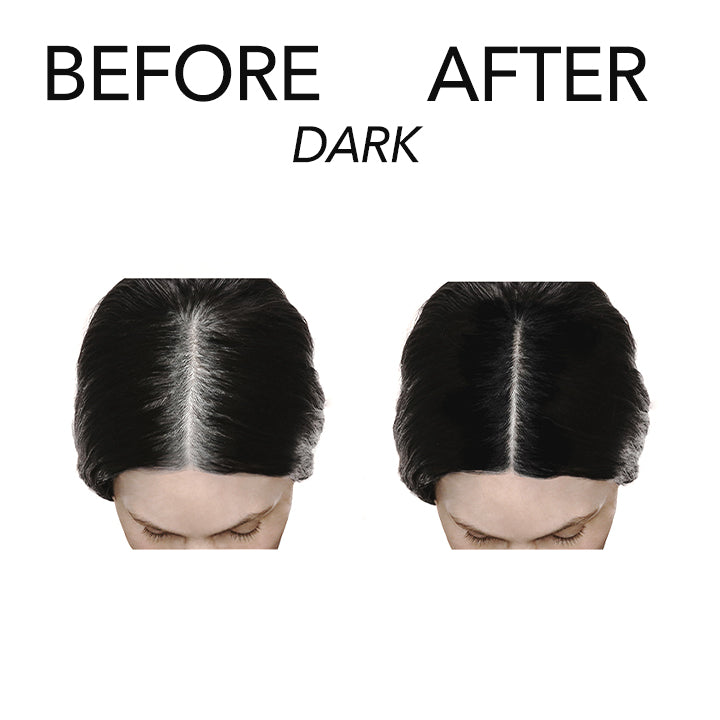 Before and after model using White Lie Dark on roots