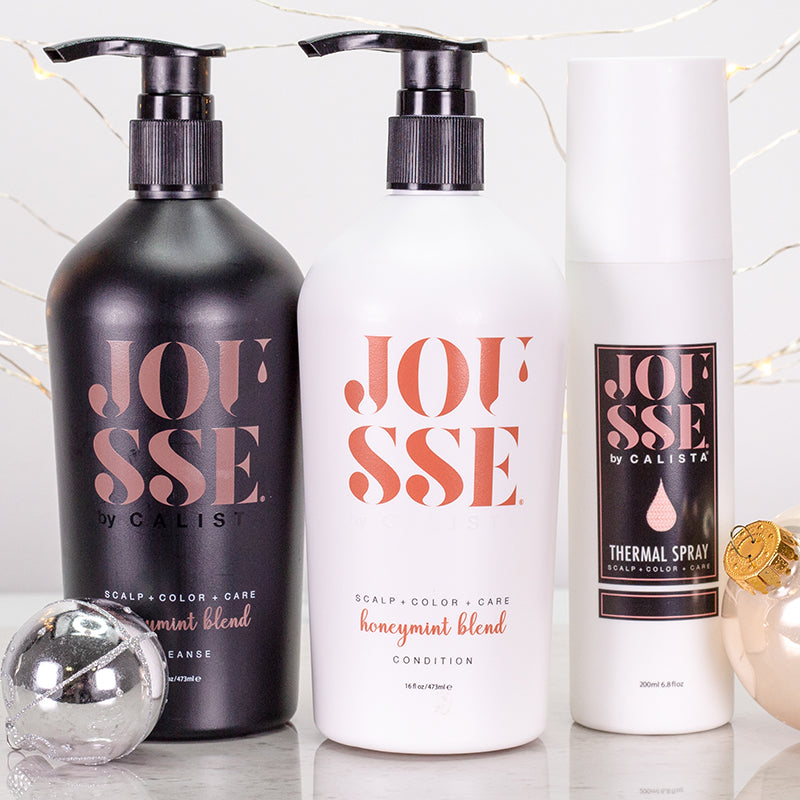 Jousse duo and thermal spray with festive background