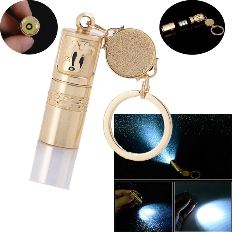 1PC Outdoor Multi Tools Super Bright Waterproof Mini Led Flashlight Lamp With Camping Key Golden Pocket Tools For Hiking #E0