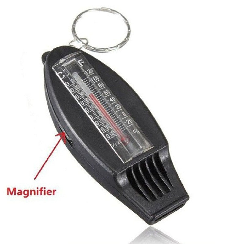 4in1Black  Mini Survival Tool Thermometer Whistle Compass