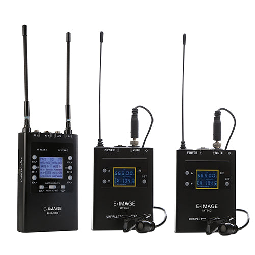 E-image UHF 200 Channels Metal Body Dual Channel Receiver