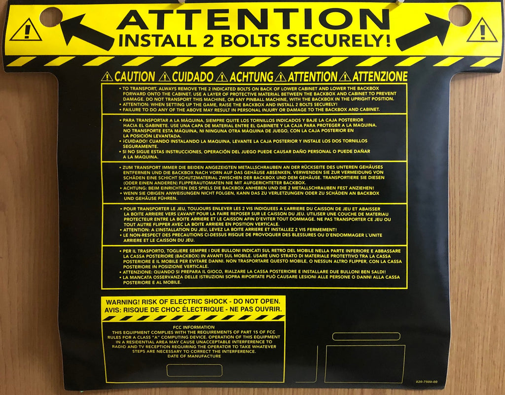 Cabinet Backbox Warning Label