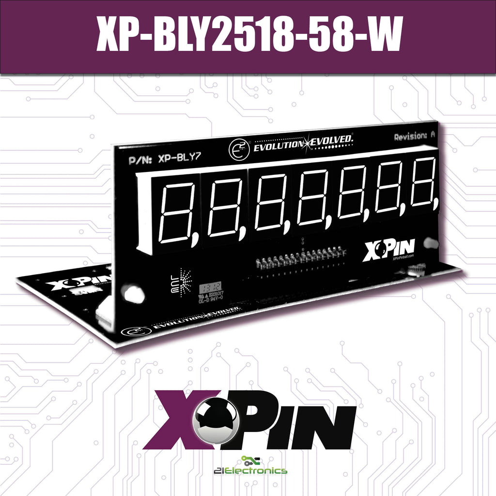 XP-BLY2518-58-W / CLASSIC BALLY/STERN 7-DIGIT DISPLAY: WHITE (Includes Red, Green & Blue Vinyl Gel)