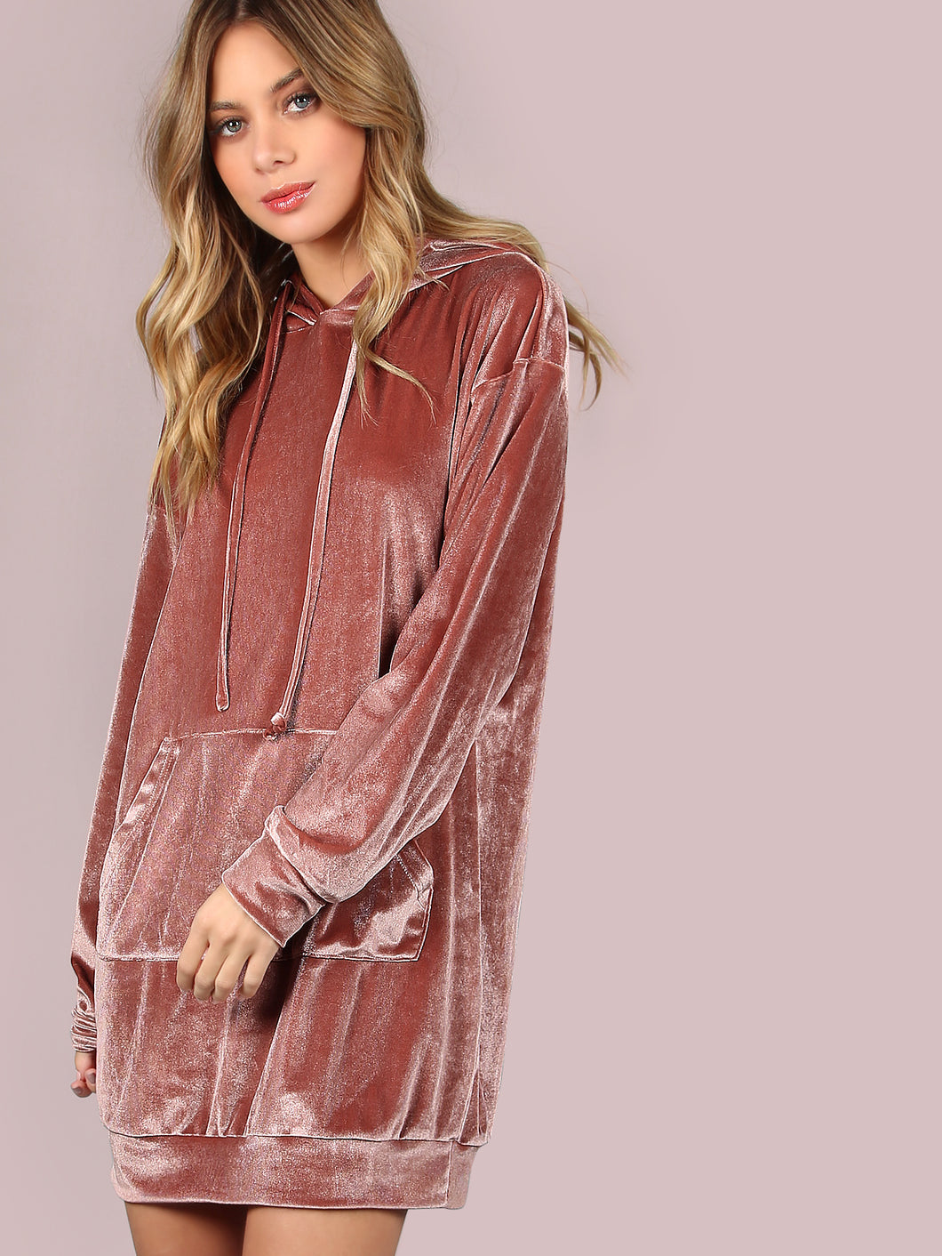 All the Hearts Pink Velvet Hoodie Tunic