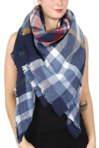 Blanket Scarf: Blue and Navy