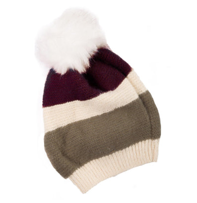Stripes and Fur Beanie: Olive
