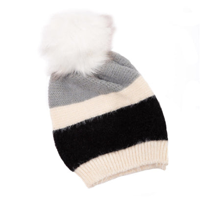 Stripes and Fur Beanie: Grey