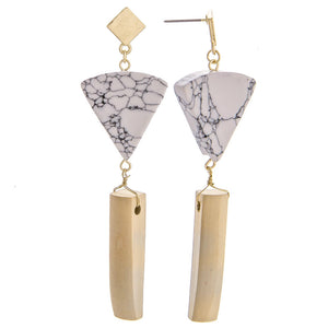 Marble Triangle Earrings