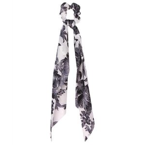 Black and White Flower Scrunchie Scarf