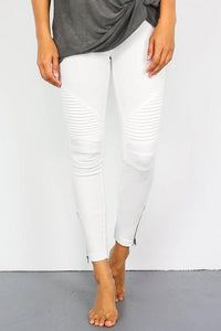 Moto Zipper Jeggings: White
