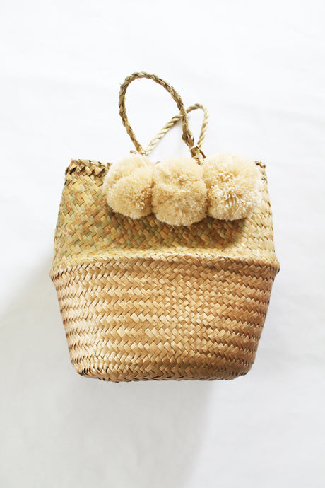 Large Tan Pom Pom Basket Bag