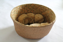 Tan Pom Pom Basket Bag