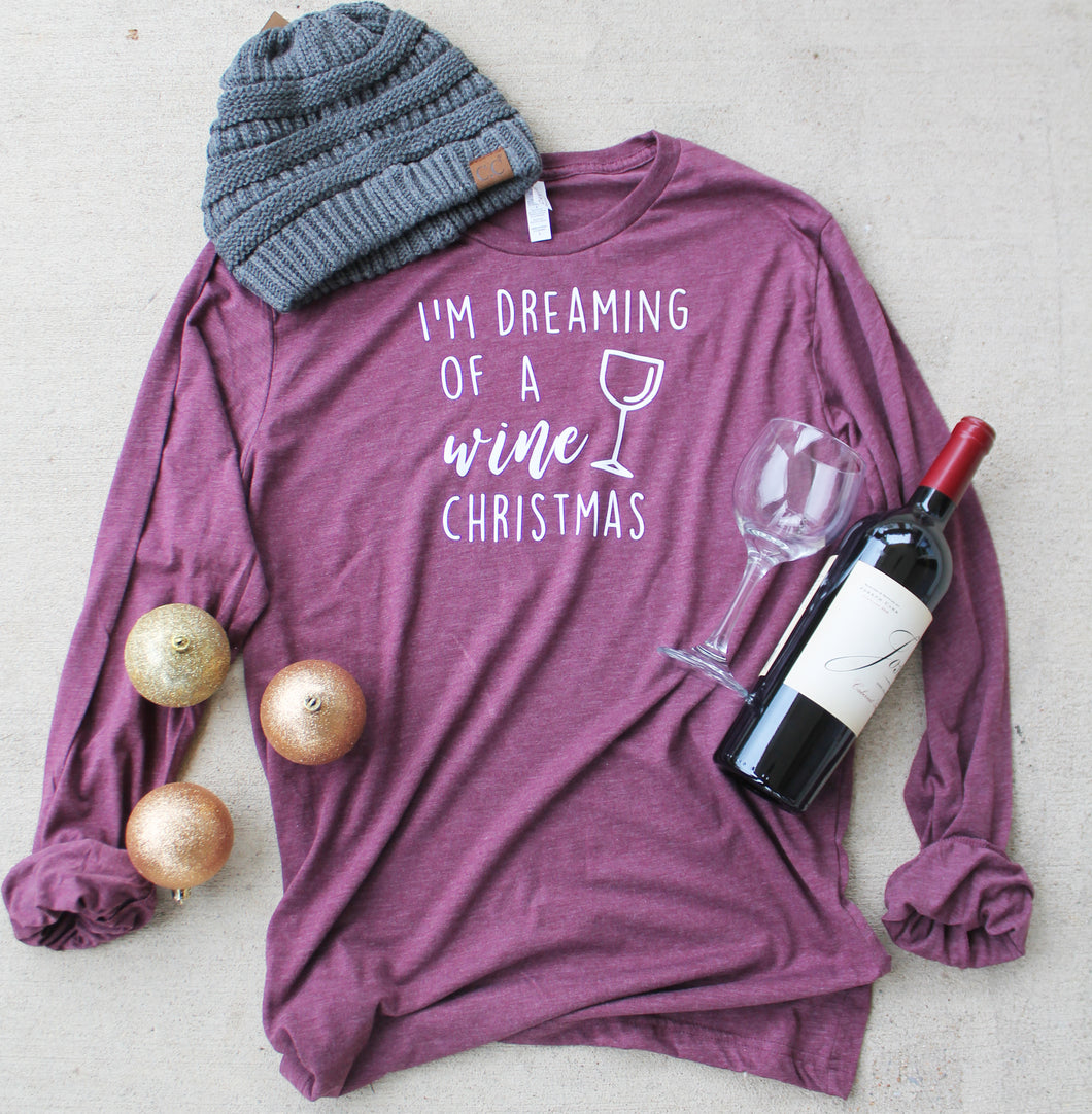 Wine Christmas LS Tee