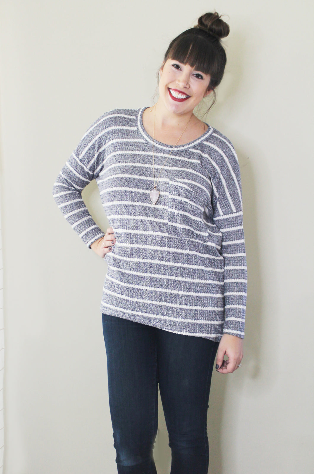 Winter Greys Stripe Top