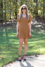 Camel Fit and Flare Dress