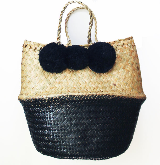 Large Pom Pom beach bag: Black
