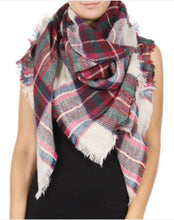Blanket Scarf: Dark Pink and Navy