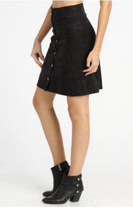 Button Front Leather Skirt