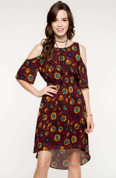 Cut Out Floral Dress