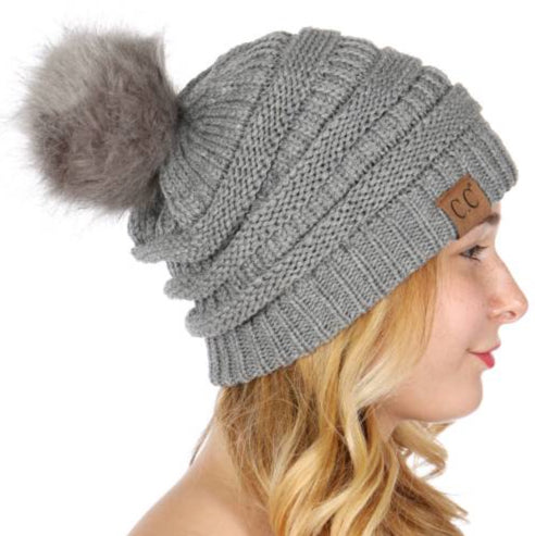 CC Beanie: Grey on Grey Pom Pom