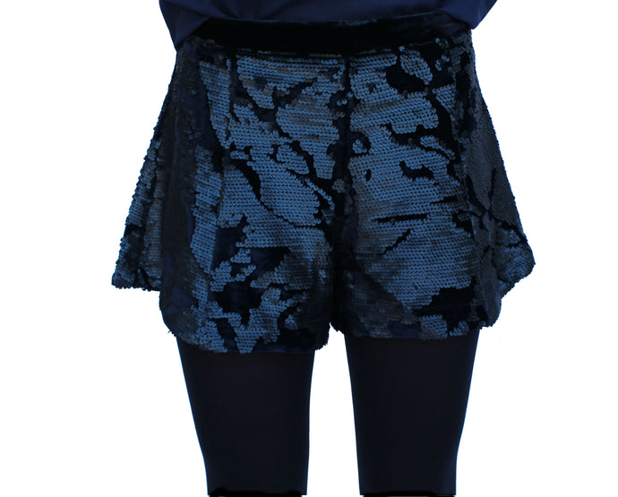JOA Navy Sequin Shorts