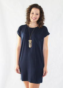 Navy Pocket Tee Dress