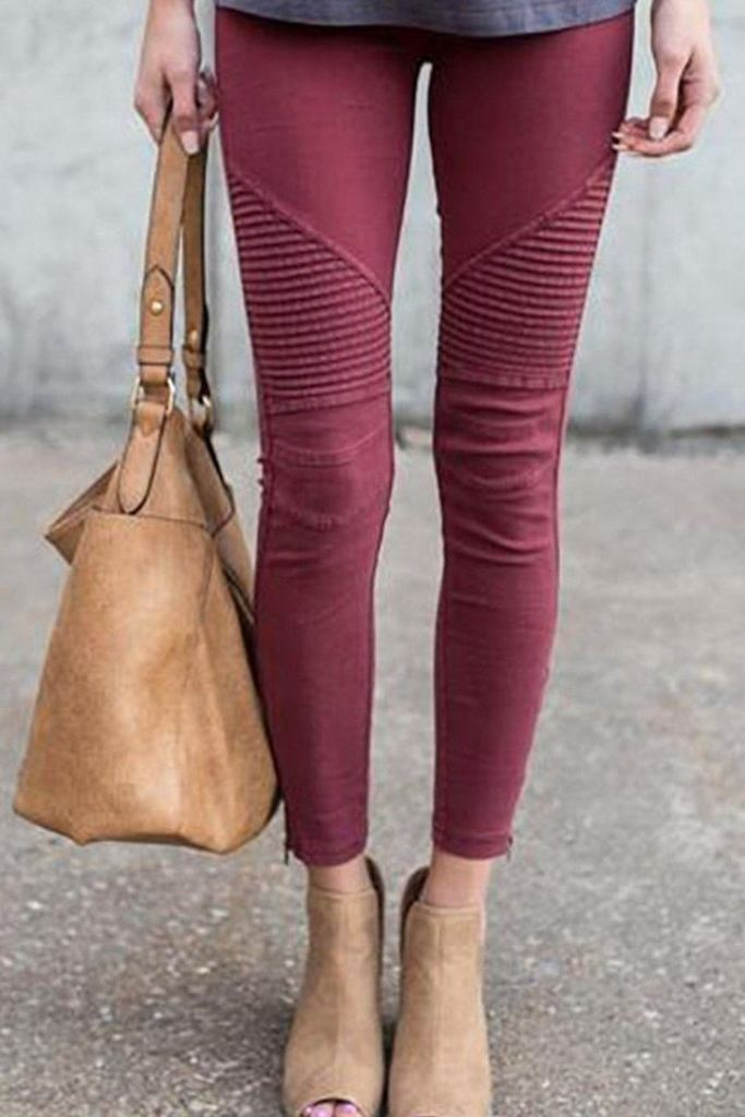 Moto Zipper Jeggings: Merlot