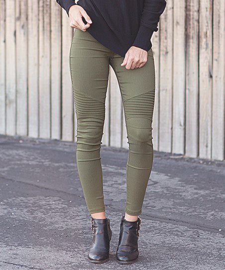 Moto Zipper Jeggings: Olive