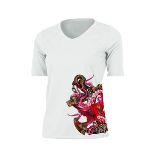 Anchor Octo (Side Wrap) Short Sleeve V-Neck Performance Tee