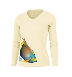 Angelfish (Side Wrap) Long Sleeve V-Neck Performance Tee