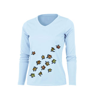 Baby Sea Turtles Long Sleeve V-Neck Performance Tee