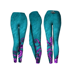 Turquoise Blue Octo Performance Leggings