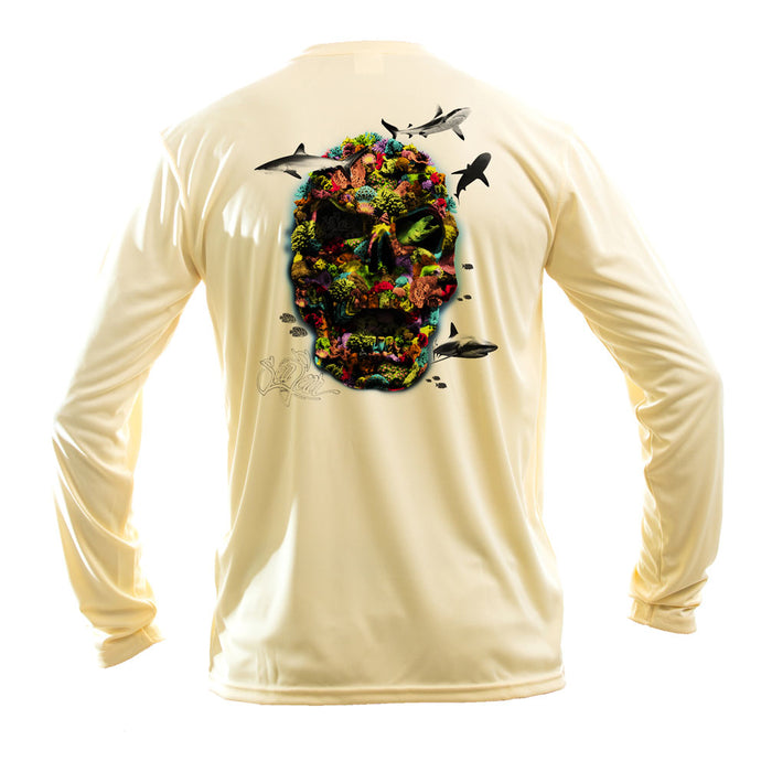 Color Coral Skull Long Sleeve Performance Tee