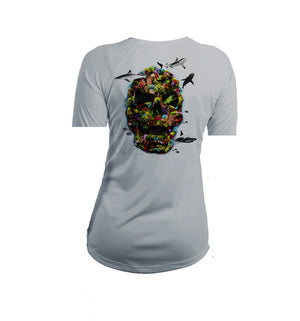 Color Coral Skull Short Sleeve V-Neck Performance Tee