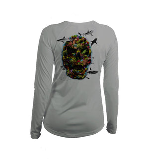 Color Coral Skull Long Sleeve V-Neck Performance Tee