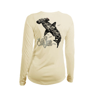 Hammerhead Coral Long Sleeve V-Neck Performance Tee
