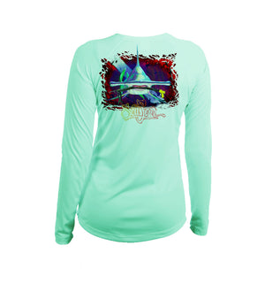 Hammerhead Dive Flag Long Sleeve V-Neck Performance Tee