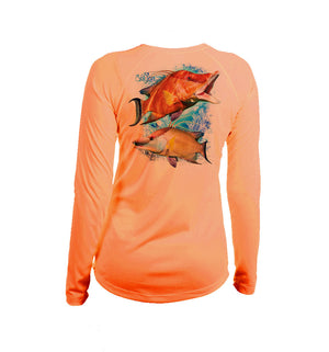 Hogfish Coral Long Sleeve V-Neck Performance Tee