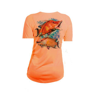 Hogfish Coral Short Sleeve V-Neck Performance Tee