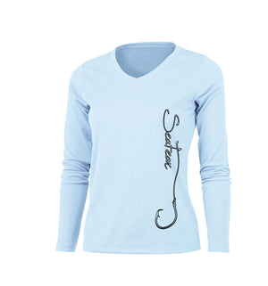 Hooked (Side Print) Long Sleeve V-Neck Performance Tee